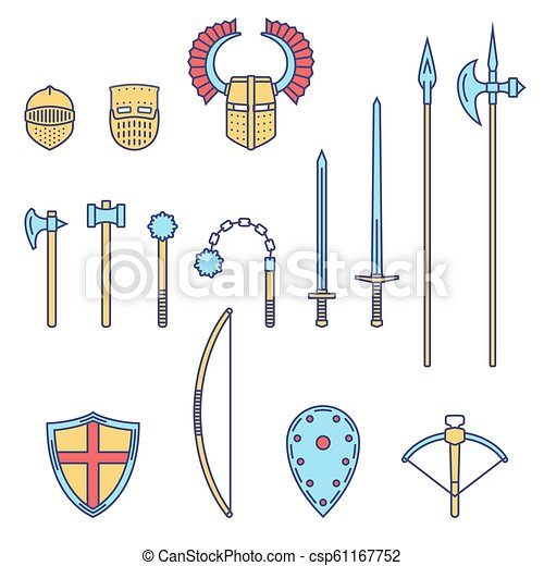 Medieval knight weapons and armors set. Medieval warrior equipment. Sword, hammer, axe, male, spear, pike,mace, bow, crossbow helmet shield. - csp61167752