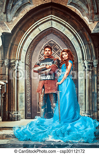 Medieval knight with his beloved lady - csp30112172
