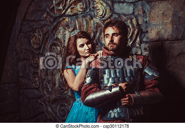 Medieval knight with his beloved lady - csp30112178