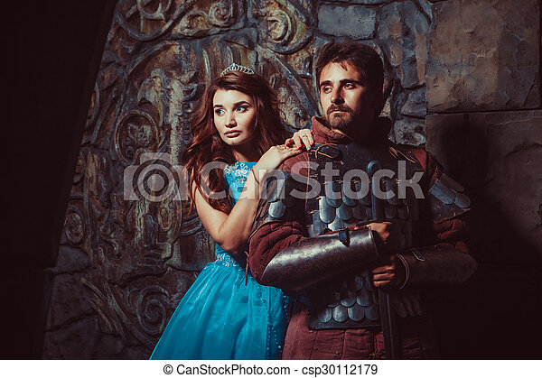 Medieval knight with his beloved lady - csp30112179