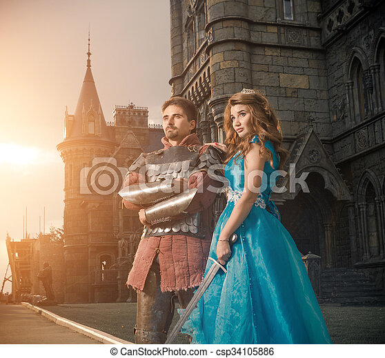 Medieval knight with his beloved lady. - csp34105886