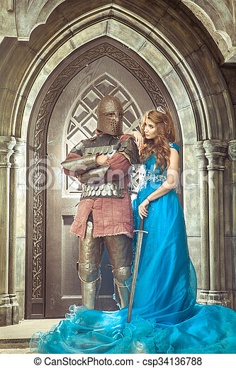 Medieval knight with his beloved lady.  - csp34136788