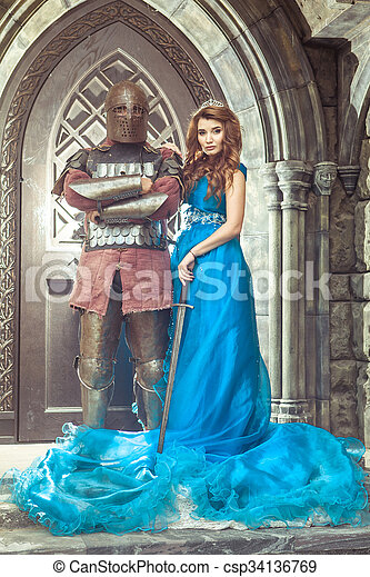 Medieval knight with his beloved lady.  - csp34136769