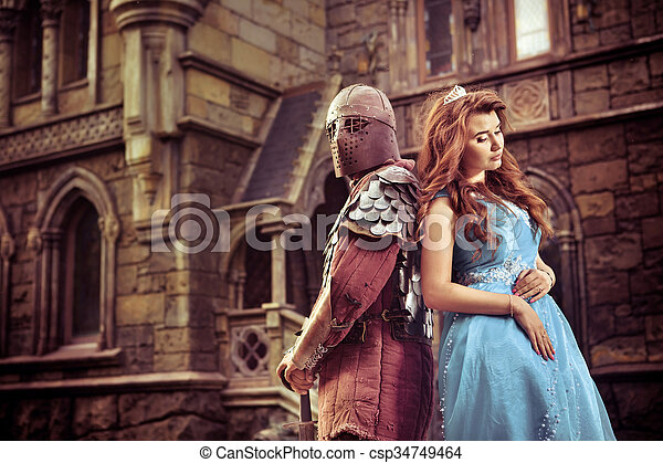 Medieval knight with his beloved lady - csp34749464
