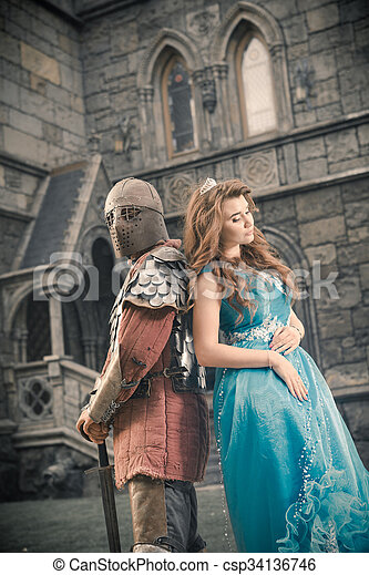 Medieval knight with his beloved lady.  - csp34136746
