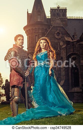 Medieval knight with his beloved lady.  - csp34749528