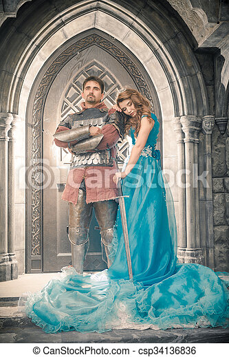 Medieval knight with his beloved lady.  - csp34136836