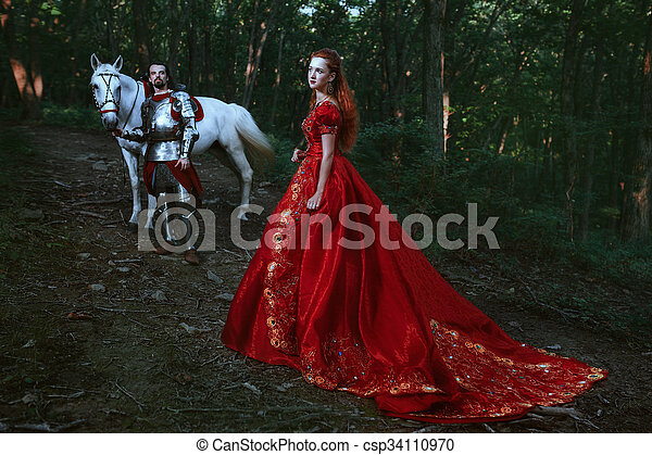 Medieval knight with lady - csp34110970