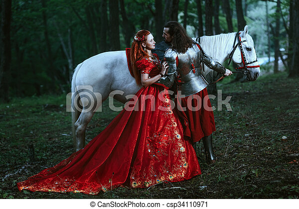 Medieval knight with lady - csp34110971