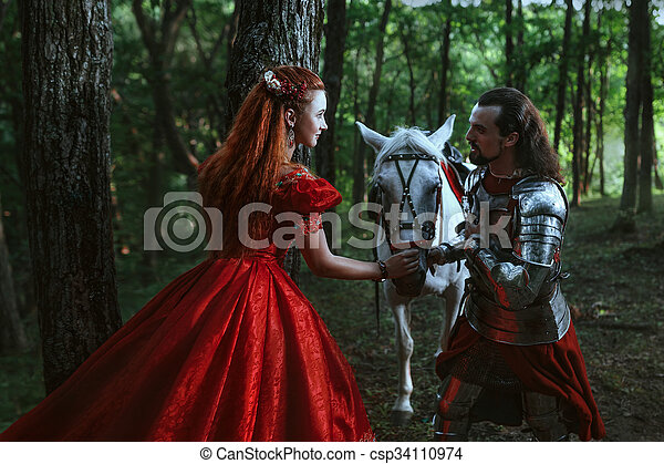 Medieval knight with lady - csp34110974