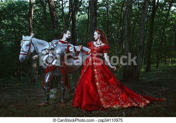 Medieval knight with lady - csp34110975