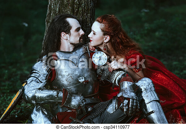 Medieval knight with lady - csp34110977
