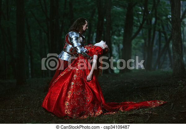 Medieval knight with lady - csp34109487