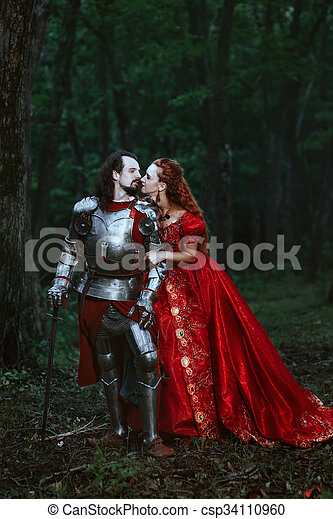 Medieval knight with lady - csp34110960