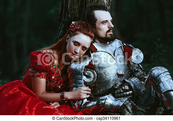 Medieval knight with lady - csp34110961