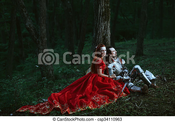 Medieval knight with lady - csp34110963