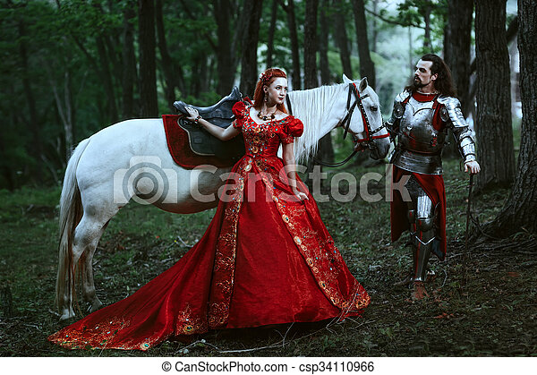 Medieval knight with lady - csp34110966