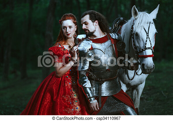Medieval knight with lady - csp34110967