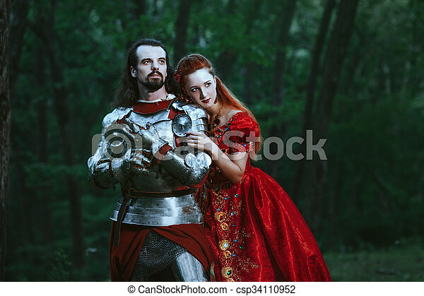 Medieval knight with lady - csp34110952