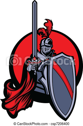 Medieval Knight with Sword and Shie - csp7206400