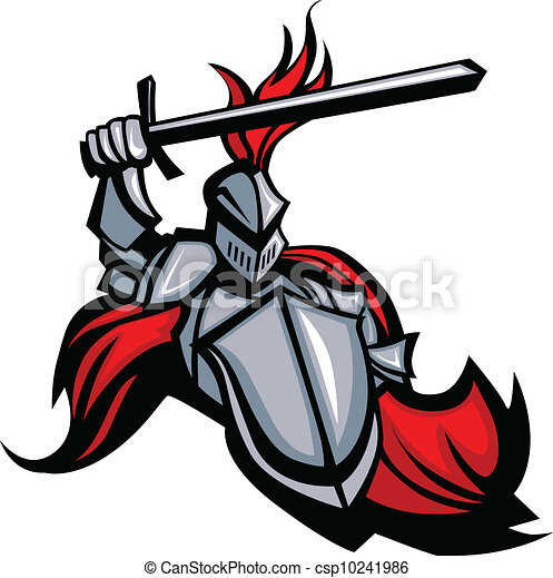 Medieval Knight with Sword and Shield Vector Mascot - csp10241986