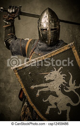 Medieval knight with sword and shield against stone wall - csp12459486