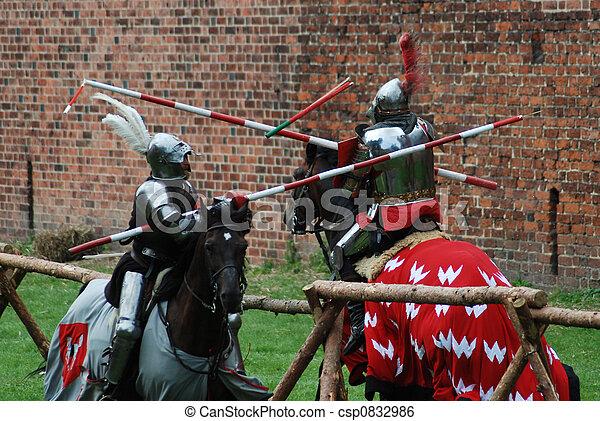 Medieval knights jousting - csp0832986