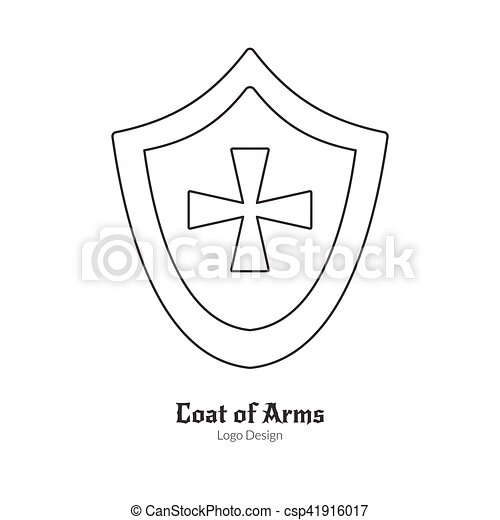 Medieval logo emblem template with outline icon. Medieval heraldic ...