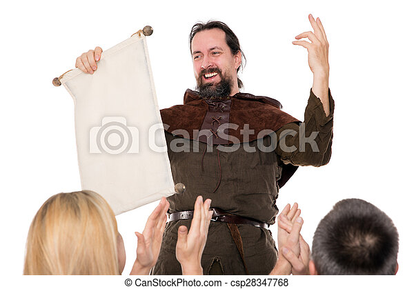 medieval man is deliver a speech - csp28347768
