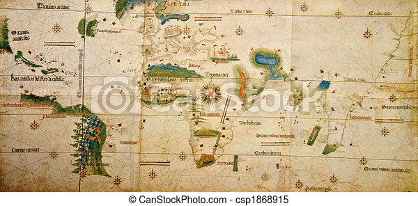 Medieval Map Of The World Photo From Old Reproduction