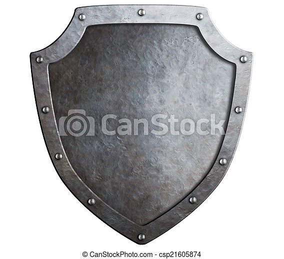 medieval metal shield isolated on white - csp21605874