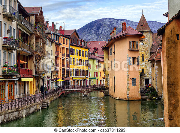 Medieval old town and Thiou river, Annecy, Savoy, France - csp37311293