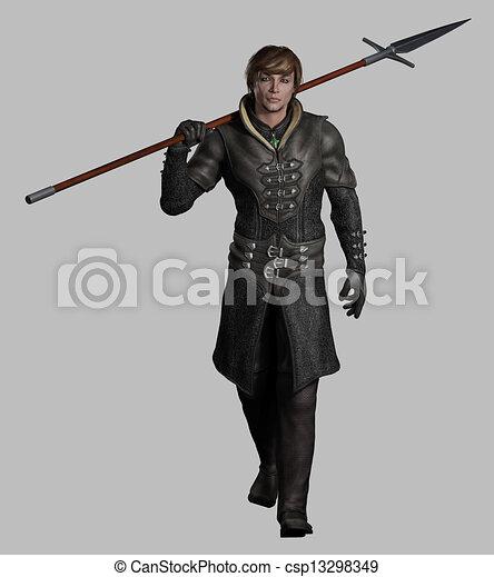 Medieval or Fantasy Spearman - csp13298349