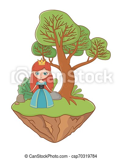 Medieval Princess Cartoon Design Vector Illustration Princess Design Medieval Queen Woman Beauty Young Fairytale And