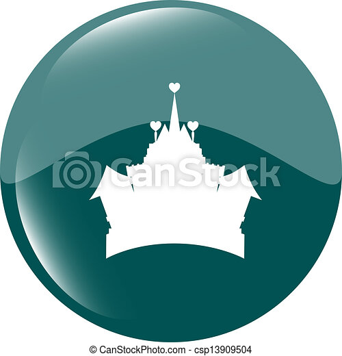 Medieval royal castle - green icon button isolated - csp13909504