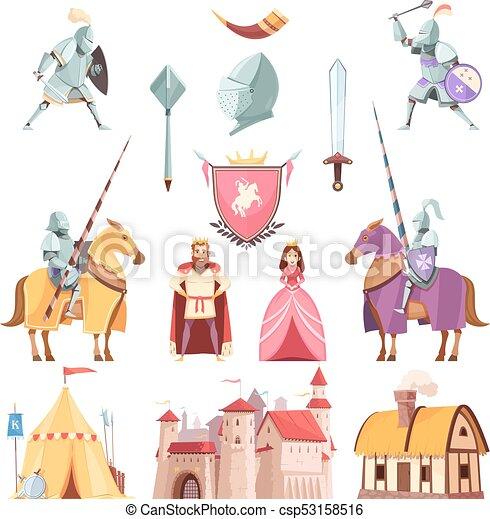 Medieval Royal Heraldry Cartoon Set - csp53158516