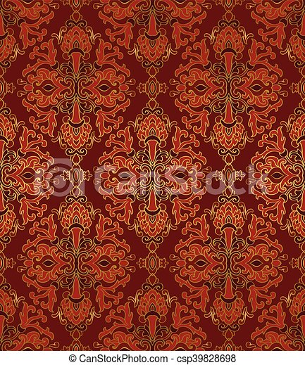 Medieval Seamless Pattern Medieval Floral Ornament Template For Oriental Carpet Textile Shawl Wallpaper Seamless Vector