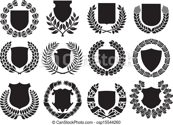 medieval shields and laurel wreath - csp15544260