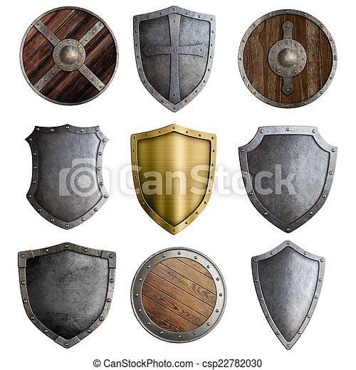Medieval shields or badges set isolated - csp22782030