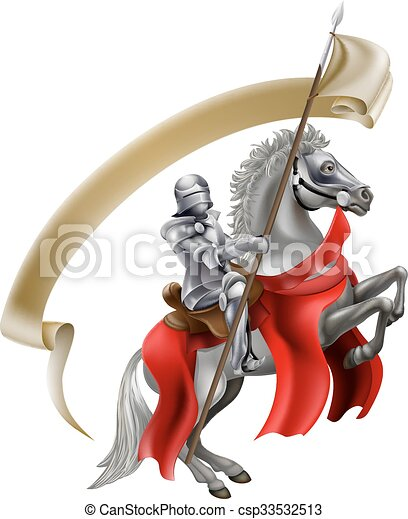 Medieval Spear Knight on Horse - csp33532513