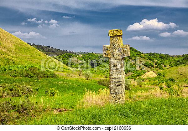 Medieval stone cross - csp12160636