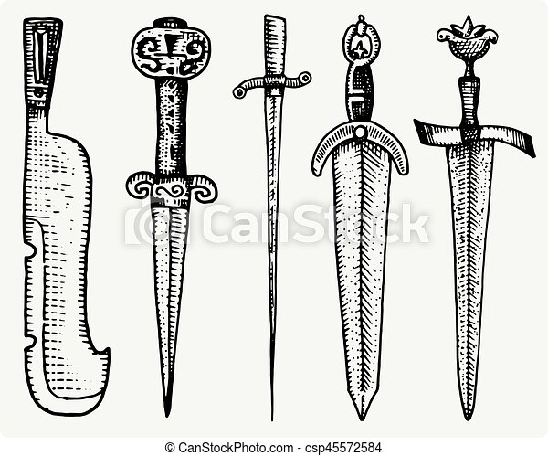 medieval symbols big set of swords, knife and mace vintage, engraved hand drawn in sketch or wood cut style, old looking retro, isolated vector realistic illustration, heraldic. - csp45572584