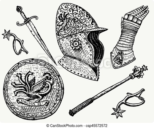medieval symbols, Helmet and gloves, shield with dragon and sword, knife and mace, spur vintage, engraved hand drawn in sketch or wood cut style, old looking retro - csp45572572