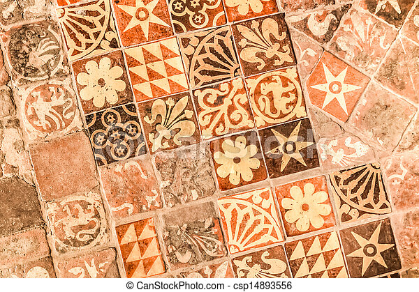 Medieval tiles. Background of hand painted medieval floor tiles ...