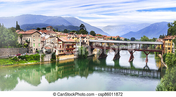 medieval town Bassano de Grappa located in Brenta river. Northern Italy - csp86011872