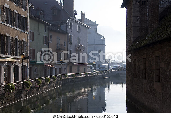 Medieval town of Annecy and river - csp8125013