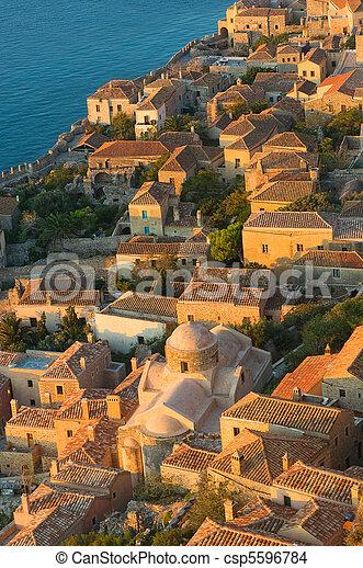 Medieval walled town of Monemvasia, Greece - csp5596784