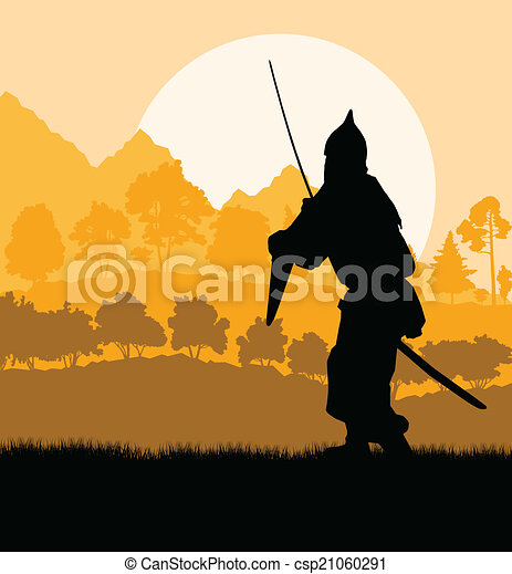 Medieval warrior, crusader vector background landscape - csp21060291