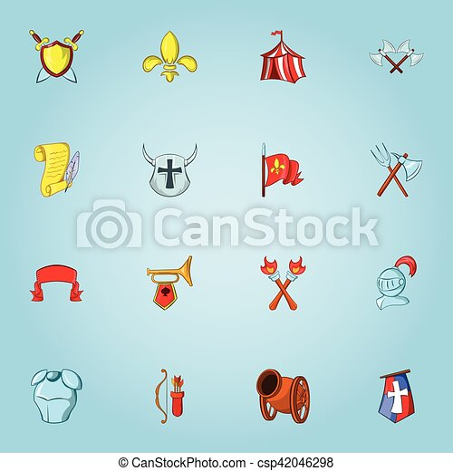Medieval weapons icons set, cartoon style - csp42046298
