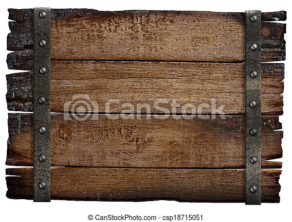 medieval wood sign board isolated - csp18715051